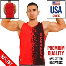 Red Gym Tank Top Fitness Men Sleeveless Workout  Bodybuilding Print High Quality