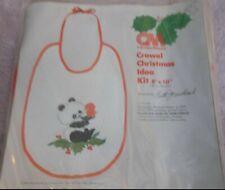 """New listing Columbia-Minerva Vintage Crewel Christmas Idea Kit Panda Bib #7126 8"""" x 10"""""""