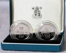 More details for royal mint uk 1989 £2 silver proof two coin set - £2 bill and £2 claim of rights