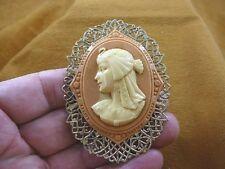 (CL74-15) Egyptian lady wearing bird headdress orange CAMEO Pin Pendant brooch