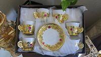 Luxury gift box royal gold Arab Arabic coffee tea cup طقم فناجين قهوة ذهبي مرصع