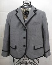 ALEXANDER MCQUEEN Gray Wool Blend Black Trim Chic Blazer Jacket 12 50 NWT