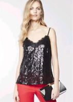 BNWT Next Black Sequin & Lace Cami Vest Top Size 12 RRP £40 Adjustable Party