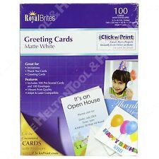 "Royal Brites Half-Fold Scored White Greeting Card Stock 8.5"" x 11"" Box of 100"