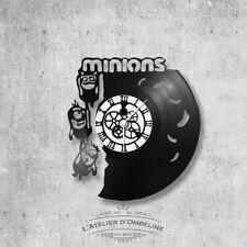 Horloge en disque vinyle 33 tours thème Minions