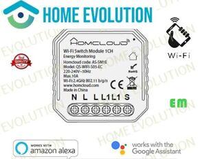 Homcloud Domotica as-sm1e Modulo Interruttore 1 canale Wi-Fi con Monitoraggio En