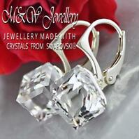 925 Sterling Silver Earrings CUBE 8mm CRYSTAL CAL Crystals From Swarovski®