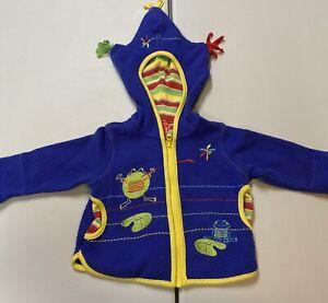 Hanna Anderson 70 Frog Sweater Zip Up Hoodie 6/12 Months