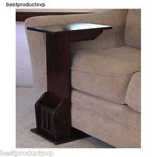 Magazine End Table Wood Side Sofa Chair Snack Rack Espresso Slide Under Holder C