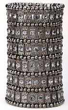 Wide stretch cuff bracelet bridal wedding party bling jewelry gift A1 6 row gun