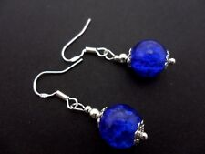 A PAIR OF BLUE CRACKLE GLASS EARRINGS WITH 925 SOLID SILVER HOOKS. NEW..