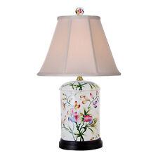 "Chinese Floral Motif Porcelain Jar Table Lamp 20"""