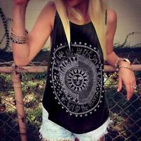 Summer Boho Women Tank Vest Tops Hippie Loose Tee Sleeveless Shirt Beach Blouses