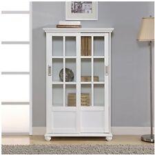 Glass Door Display Cabinet White Cupboard Bookcase 2 Sliding Doors Adjustable