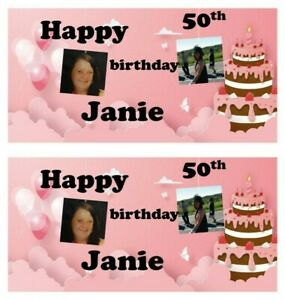 Personalised 2ft x 1ft Own Photo style paper party banner own name and age 252