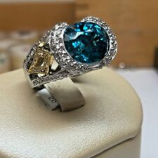 BRAND NEW 18K White & Yellow Gold 10.95CT Blue Topaz with White Diamonds Ring