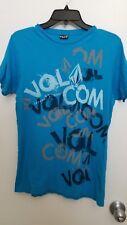 Volcom Blue Turquoise, White & Gray Graffiti Graphics T-Shirt Men's Sz S Euc