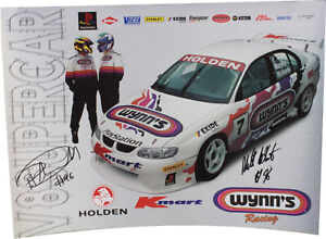 Signed Matthew White / Paul Dumbrell 1999 Wynn's Racing Poster Holden Commodore