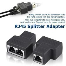2 Port RJ45 Splitter Adapter LAN Network Ethernet Cable Connector Plug Lot  f15