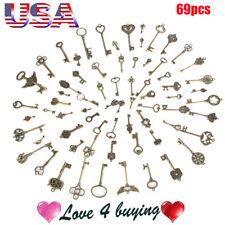 69 pcs/set Copper yellow Retro Key Antique Vintage Style Keys Pendant for Decor