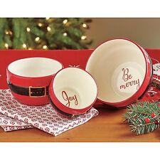Tag Santa Belt Sentiment Bowls Set/3 Christmas Nesting Bowls Salad Holiday Bowls