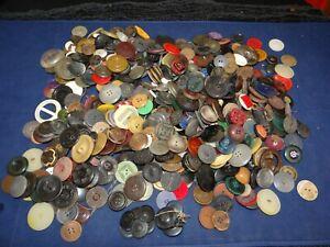 Huge Lot Of Antique Vintage Buttons Metal Black Glass Mop Anchor Rubber 3.5lbs!!