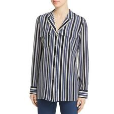 Lafayette 148 New York Womens Navy Silk Button-Down Top Blouse XL BHFO 0448