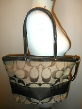 Coach Signature Brown Stripe Tote Shoulder Bag Large Brown F13548
