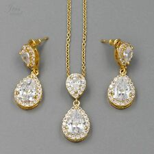 18K Gold Plated GP Zirconia CZ Necklace Earrings Bridal Wedding Jewelry Set 6289