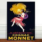 """Vintage Alcohol Advertising Poster Art ~ CANVAS PRINT 24x16"""" Cognac Monnet"""