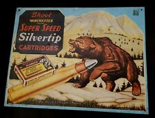 Poster advertising raised brass - Winchester brand superspeed silver tip cartrid