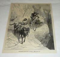1878 magazine engraving ~ MOUNTIAN TRAVELERS OF SPAIN