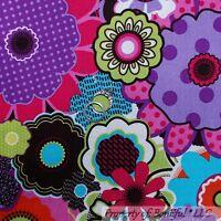 BonEful FABRIC FQ Cotton Quilt Pink Purple Gold Mum Flower Retro Hippie Mod Girl
