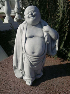 "Steinfigur ""fröhlicher Buddha"" Gartenfigur Steinguss Skulptur Statue Feng Shui"