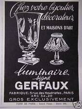 PUBLICITÉ 1948 LUMINAIRE SIGNÉ GERFAUX MAISONS D'ART - ADVERTISING
