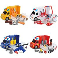 Toy Car Van Portable Carrier Case Roleplay Set for Toddlers Boys Girls Playset