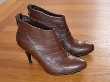 Elle Women's Cognac Leather Ankle Boots Booties (Sz 5.5 US, 36 EU)-$345