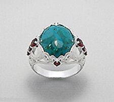 7g Solid Sterling Silver Blue Chrysocolla Red Garnet 22mm Ring sz7