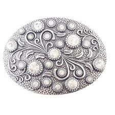 Crystal Floral Pattern. Oval Buckle with