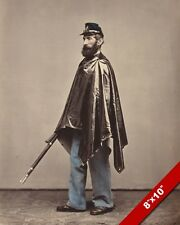 US CIVIL WAR UNION SOLDIER W RUBBER PONCHO PHOTOGRAPH ART REAL CANVAS PRINT