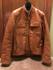 BRIONI Brown Leather Jacket Ostrich Bomber Sz Med/Large RaRe MINT