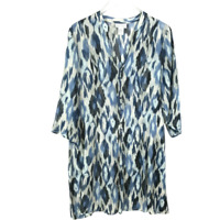 Soft Surroundings Women Blouse Size M Blue White Ikat Tunic 3/4 Sleeve SemiSheer