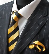 Yellow Gold Black Tie Hanky Pocket Square Set Striped Handmade 100% Silk