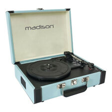 Madison Record Player Vinyl Turntable Vintage Case (Blue) Retro Style Sound