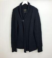 All Saints Spitalfields Cardigan Size Large Navy Blue Chunk Knitted Women Winter
