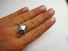 Vintage Sterling Silver Marcasite Pearl Beautiful Ladies Ring Size 7.25