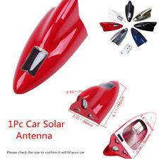 LED Red Solar Shark Fin Antenna FM/AM Anti-Rear-End Warning Lights Roof Lights