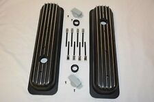 BLACK Small Block Chevy Short Finned Center Bolt Valve Covers Vortec TBI 350