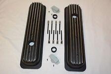 BLACK Small Block Chevy Short Finned Center Bolt Valve Covers Vortec TBI 350