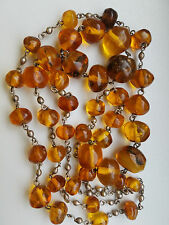 Antique Chinese Honey Amber Beaded Necklace 52Gr
